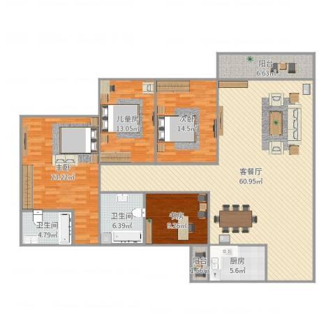 南湖半岛花园4室2厅2卫1厨182.00㎡户型图