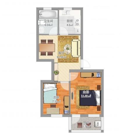 尹东小区2室1厅1卫1厨55.00㎡户型图