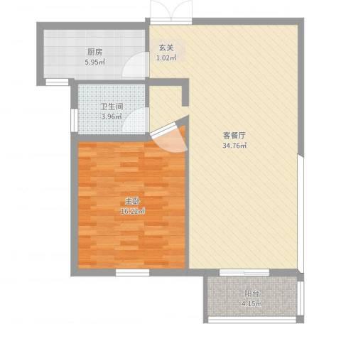 明珠・皇冠花园1室2厅1卫1厨81.00㎡户型图