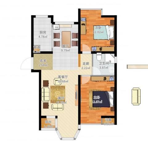 合生江山帝景2室2厅1卫1厨84.00㎡户型图
