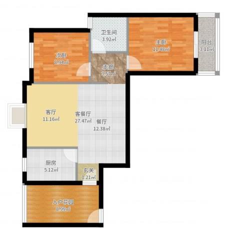 曦华佳苑2室2厅1卫1厨86.00㎡户型图