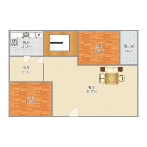 济高龙园2室2厅1卫1厨179.00㎡户型图