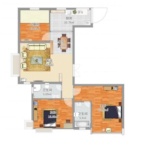 实华・金域蓝湾3室1厅2卫1厨139.00㎡户型图