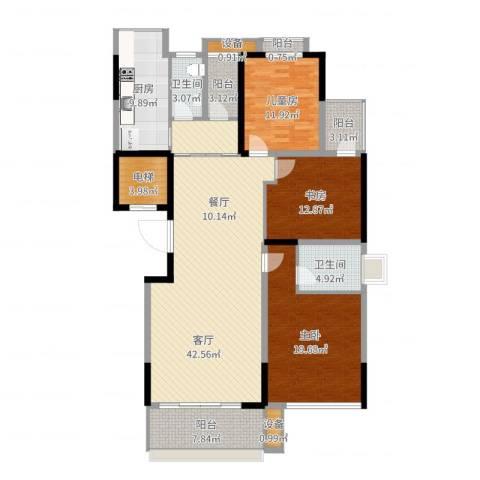 建鸿达华都3室1厅2卫1厨162.00㎡户型图