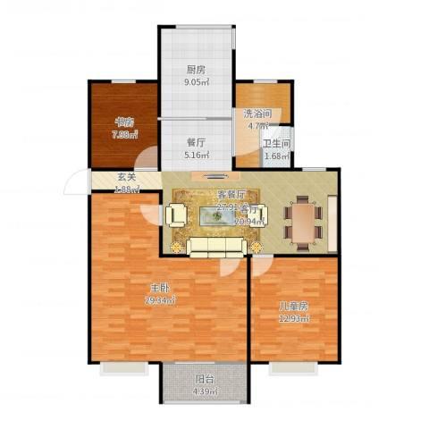 东方明珠城3室2厅1卫1厨122.00㎡户型图