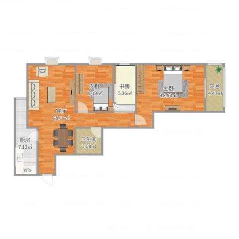 花市枣苑3室1厅1卫1厨96.00㎡户型图