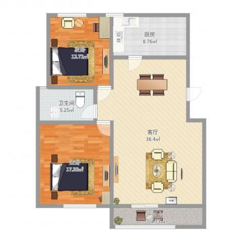 双秀家园北园2室1厅1卫1厨109.00㎡户型图