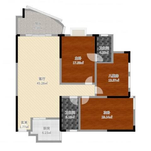 富豪山庄盛翠华庭3室1厅2卫1厨139.00㎡户型图