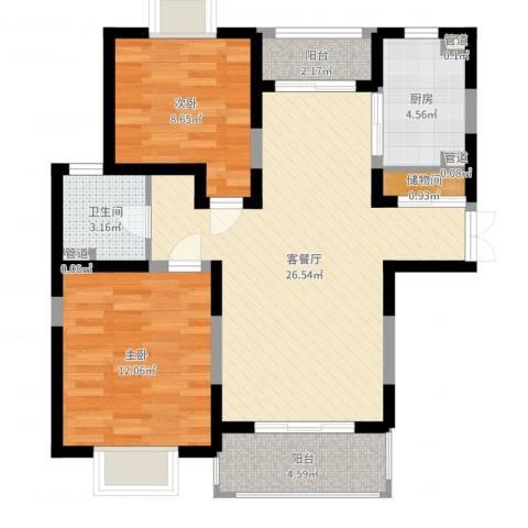 珠江香樟南园二期2室2厅1卫1厨79.00㎡户型图