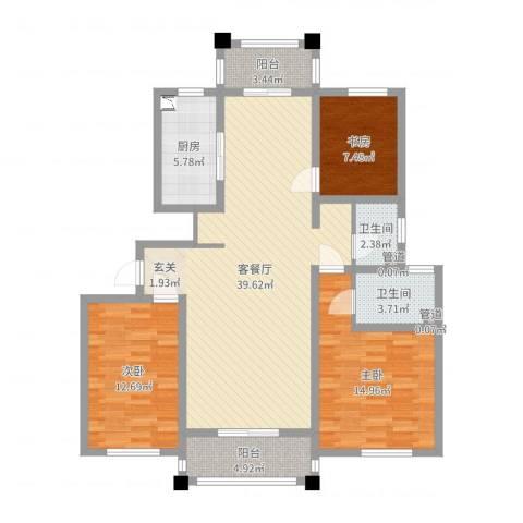 御秀园3室2厅2卫1厨119.00㎡户型图