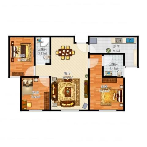 融创中央学府别墅3室1厅2卫1厨100.00㎡户型图