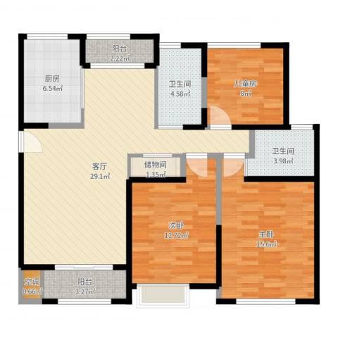 美罗家园吉翔苑3室1厅3卫1厨110.00㎡户型图