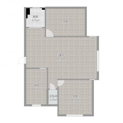 恒福家园3室1厅1卫1厨128.00㎡户型图