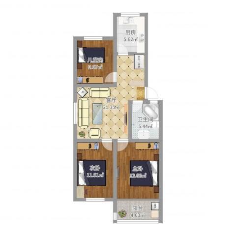 蟠桃花园3室1厅1卫1厨89.00㎡户型图