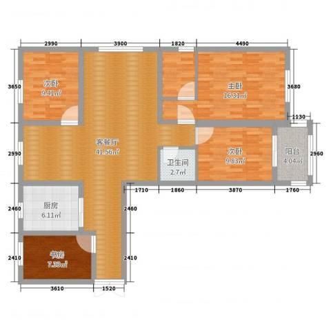 香江花园4室2厅1卫1厨126.00㎡户型图