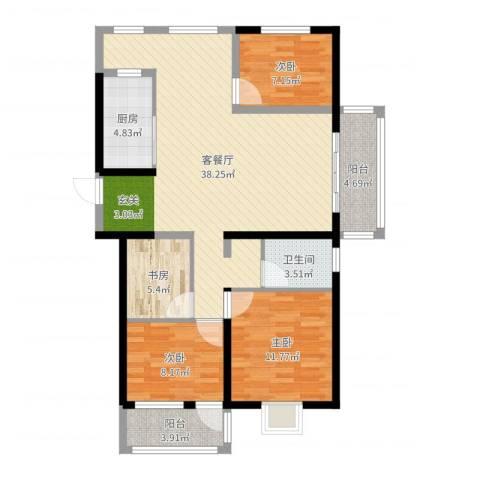 诚德盛世原著4室2厅1卫1厨110.00㎡户型图