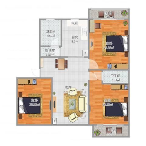天山花园3室3厅2卫1厨116.00㎡户型图