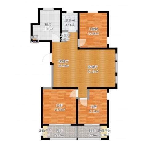 和融优山美地公馆3室2厅1卫1厨118.00㎡户型图