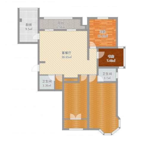英伦名嘉2室2厅2卫1厨156.00㎡户型图