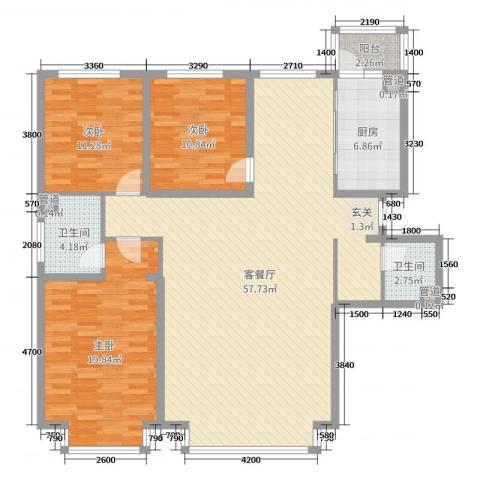 万象城3室2厅2卫1厨157.00㎡户型图