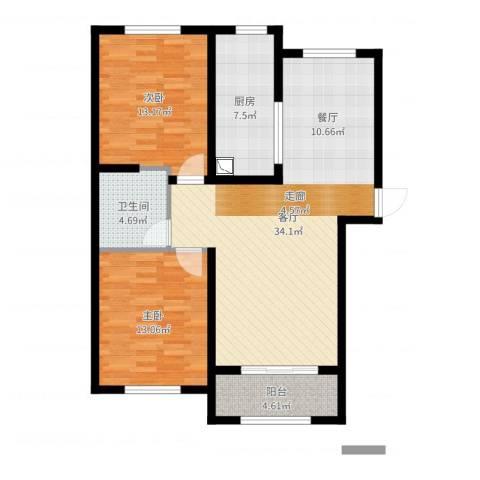艾博龙园2室1厅1卫1厨96.00㎡户型图