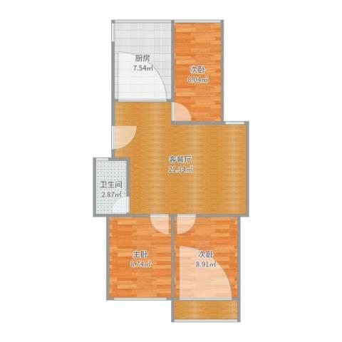 御河苑3室2厅1卫1厨74.00㎡户型图