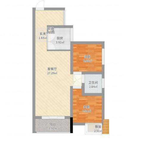 富盈香茶郡2室2厅1卫1厨65.00㎡户型图