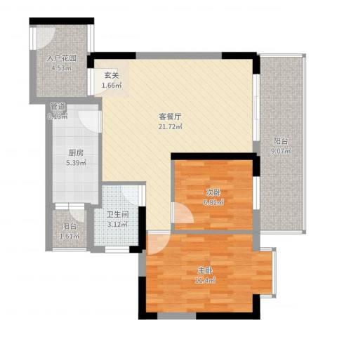 中区华府三期2室2厅1卫1厨80.00㎡户型图
