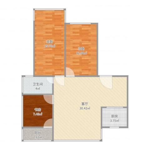 暨南大学教工宿舍3室1厅1卫1厨96.00㎡户型图