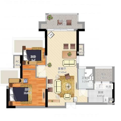 东方新世界2室2厅1卫1厨78.00㎡户型图
