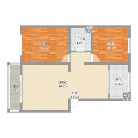 锦绣园2室2厅1卫1厨98.00㎡户型图