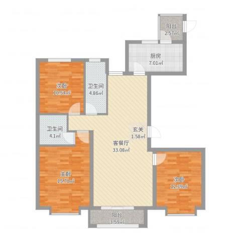 世贸广场3室2厅2卫1厨117.00㎡户型图