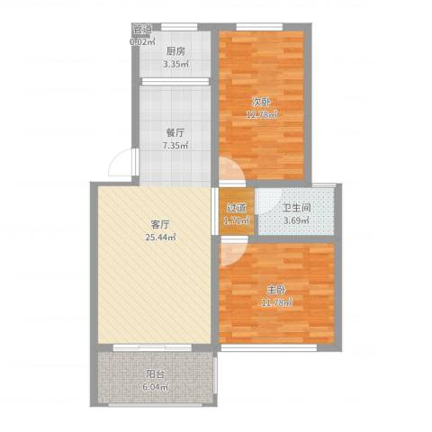帝豪・星港湾2室1厅1卫1厨81.00㎡户型图