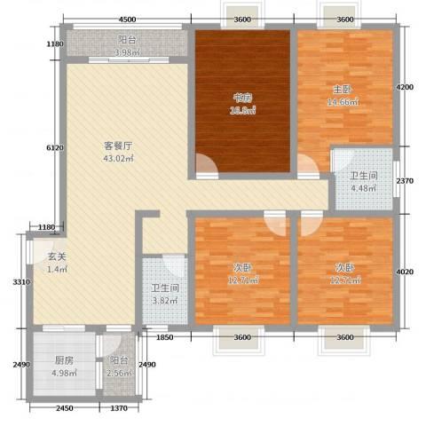 宏扬花园4室2厅2卫1厨170.00㎡户型图