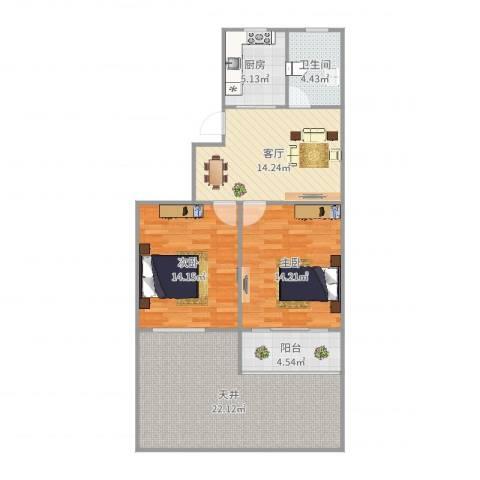 古美西路316弄小区2室1厅1卫1厨99.00㎡户型图