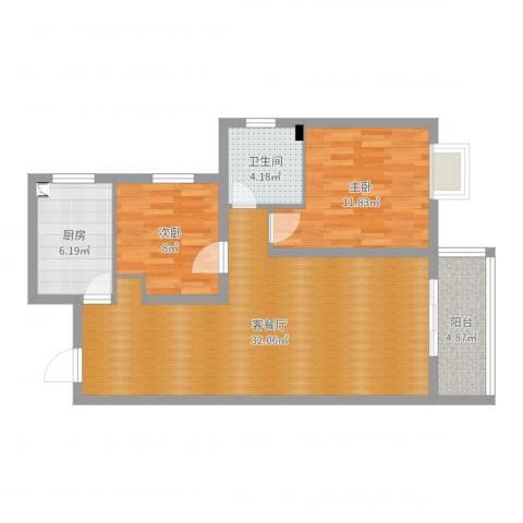 水映青山2室2厅1卫1厨84.00㎡户型图