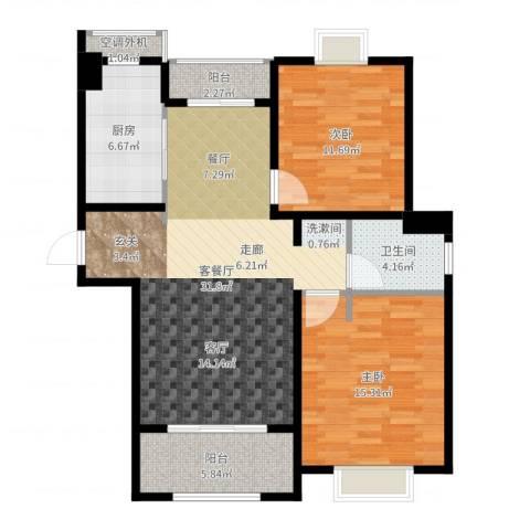 仁和都市花园2室2厅1卫1厨98.00㎡户型图