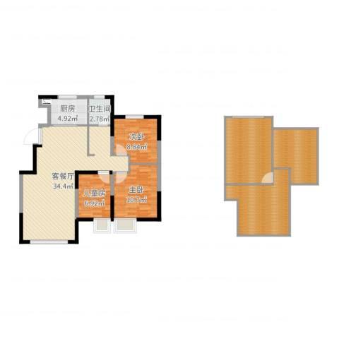保利诺丁山天津3室2厅1卫1厨135.00㎡户型图
