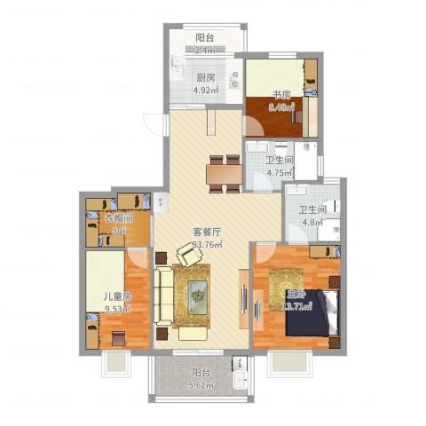 格兰春晨二期加州里3室2厅2卫1厨116.00㎡户型图