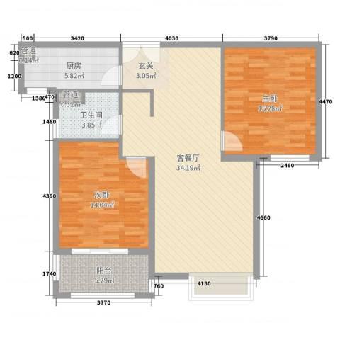 中星湖滨城凡尔赛九郡2室2厅1卫1厨99.00㎡户型图