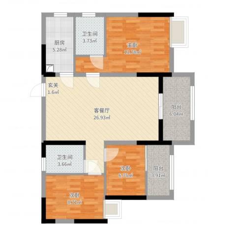 恒泰嘉园派3室2厅2卫1厨99.00㎡户型图