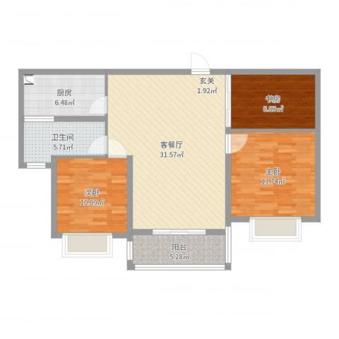 集云文泽府邸3室2厅1卫1厨102.00㎡户型图