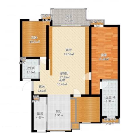 亚厦风和苑2室2厅4卫4厨133.00㎡户型图