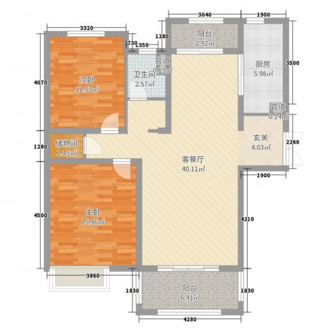 中星湖滨城凡尔赛九郡2室2厅1卫1厨87.20㎡户型图