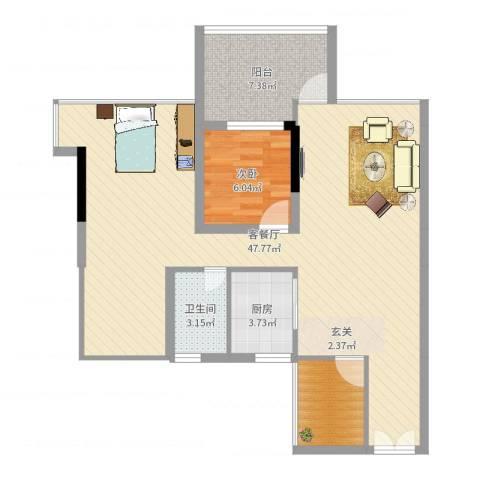 阳光时代1室2厅1卫1厨90.00㎡户型图