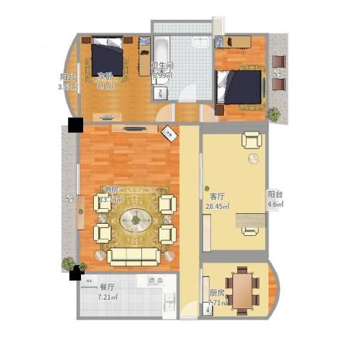 未来海岸浪琴湾2室1厅1卫1厨74.00㎡户型图