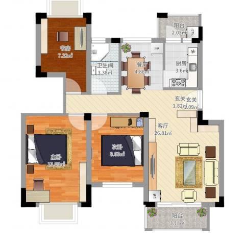 百盈花园3室1厅1卫1厨85.00㎡户型图