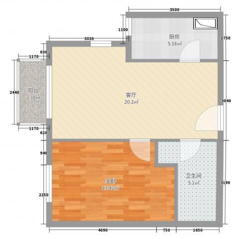 百子湾家园1室1厅1卫1厨58.00㎡户型图
