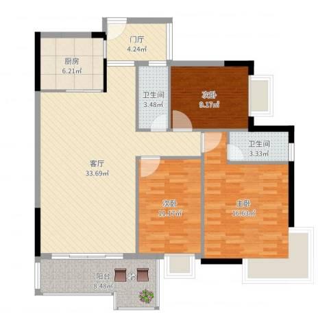 罗定福泰花园3室1厅2卫1厨121.00㎡户型图