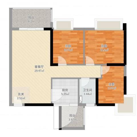 达凯御湖国际3室2厅1卫1厨95.00㎡户型图